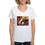 Santa's Bi Black Sheltie Women's V-Neck T-Shirt