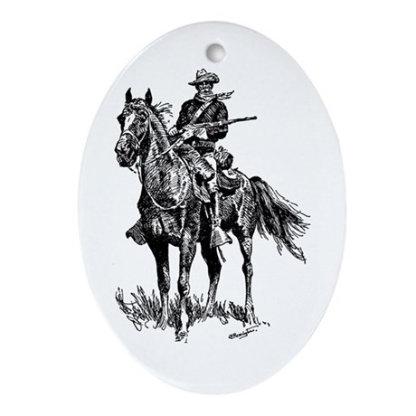 Old Bill Cavalry Mascot Oval Ornament