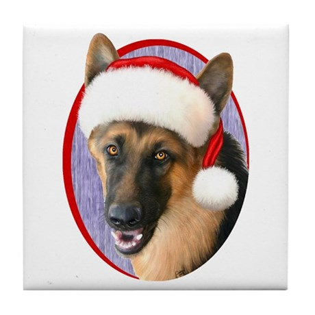 German Shepherd Santa Tile Coaster