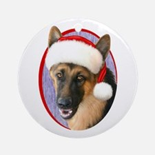German Shepherd Santa Ornament (Round)