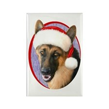 German Shepherd Santa Rectangle Magnet