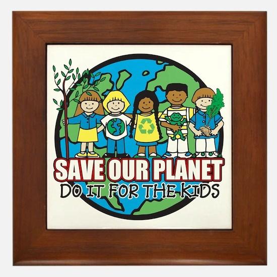 Save Our Planet Framed Tile