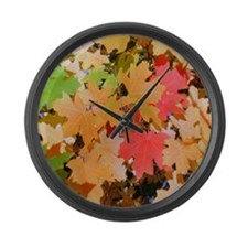 Fall Colors Leaves Large Wall Clock