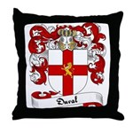Duval Family Crest Throw Pillow