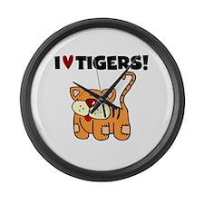 I Love Tigers Large Wall Clock