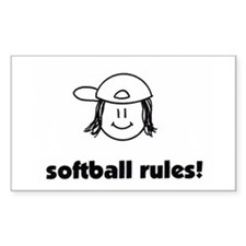 softball rules! Rectangle Decal