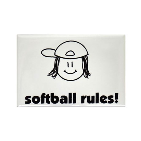 softball rules! Rectangle Magnet (10 pack)