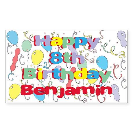 Benjamin's 8th Birthday Rectangle Sticker