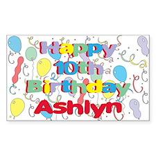 Ashlyn's 10th Birthday Rectangle Decal