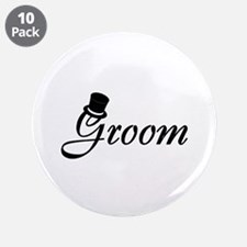 """Groom (Top Hat) 3.5"""" Button (10 pack)"""