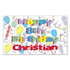 Christian's 8th Birthday Rectangle Decal