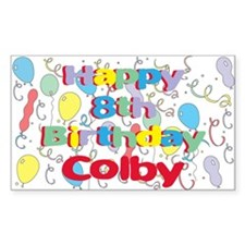 Colby's 8th Birthday Rectangle Decal