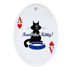 Cats Playing Poker Oval Ornament