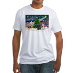 XmasMagic/2 Scotties (P3) Fitted T-Shirt