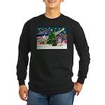 XmasMagic/2 Scotties (P3) Long Sleeve Dark T-Shirt