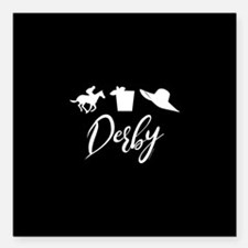 """Kentucky Derby Icons Square Car Magnet 3"""" x 3"""""""