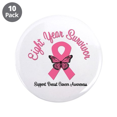 "Breast Cancer (8 Yrs) 3.5"" Button (10 pack)"