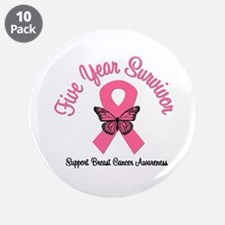 """Breast Cancer (5 Yrs) 3.5"""" Button (10 pack)"""