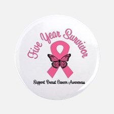 """Breast Cancer (5 Yrs) 3.5"""" Button"""