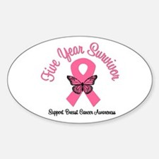 Breast Cancer (5 Yrs) Oval Decal