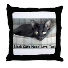 Love Black Cats Throw Pillow