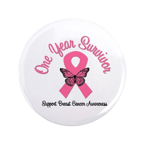 "Breast Cancer (1 Year) 3.5"" Button"
