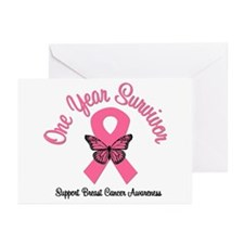 Breast Cancer (1 Year) Greeting Cards (Pk of 10)