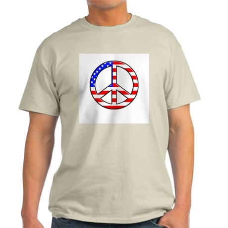 Red White and Blue Peace Sign Ash Grey T-Shirt