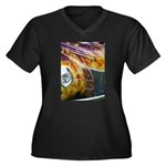 On Fire Women's Plus Size V-Neck Dark T-Shirt