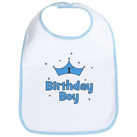 1st Birthday Boy (crown) Bib