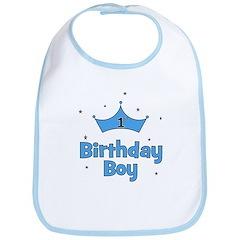 1st Birthday Boy (crown) Bib