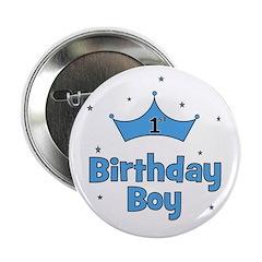 """1st Birthday Boy (crown) 2.25"""" Button"""