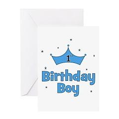 1st Birthday Boy (crown) Greeting Card