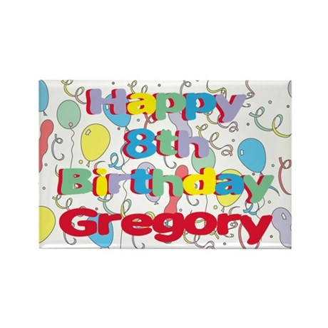 Gregory's 8th Birthday Rectangle Magnet
