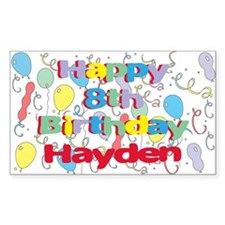Hayden's 8th Birthday Rectangle Decal