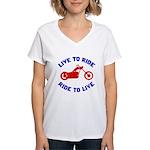 Live to Ride 3 Women's V-Neck T-Shirt