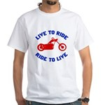 Live to Ride 3 White T-Shirt