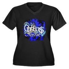 Queens NY Women's Plus Size V-Neck Dark T-Shirt