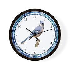 Blue Jay on Branch Wall Clock