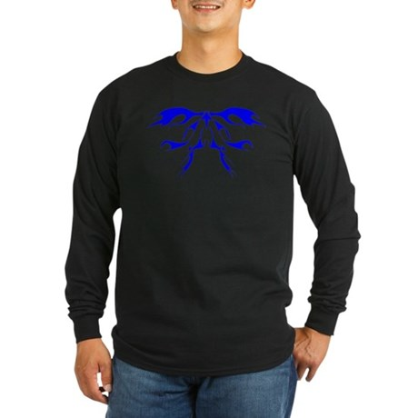 Tribal Flames (Blue) Long Sleeve Dark T-Shirt
