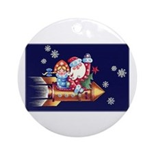 rocket santa Ornament (Round)