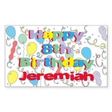 Jeremiah's 8th Birthday Rectangle Decal