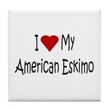 American Eskimo Dog Tile Coaster