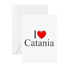 """""""I Love (Heart) Catania"""" Greeting Cards (Pk of 10)"""