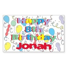 Jonah's 8th Birthday Rectangle Decal