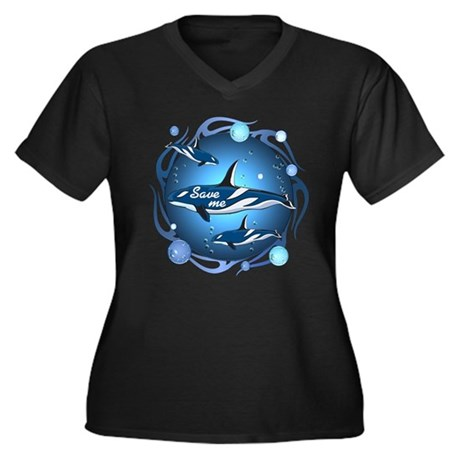 Save the whales Women's Plus Size V-Neck Dark T-Sh