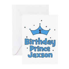 1st Birthday Prince Jaxson! Greeting Cards (Pk of