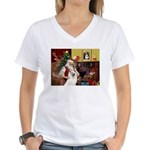 Santa's Samoyed Women's V-Neck T-Shirt