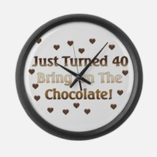 40th Birthday Means Chocolate Large Wall Clock