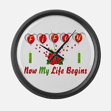 Life Begins At Fifty Large Wall Clock